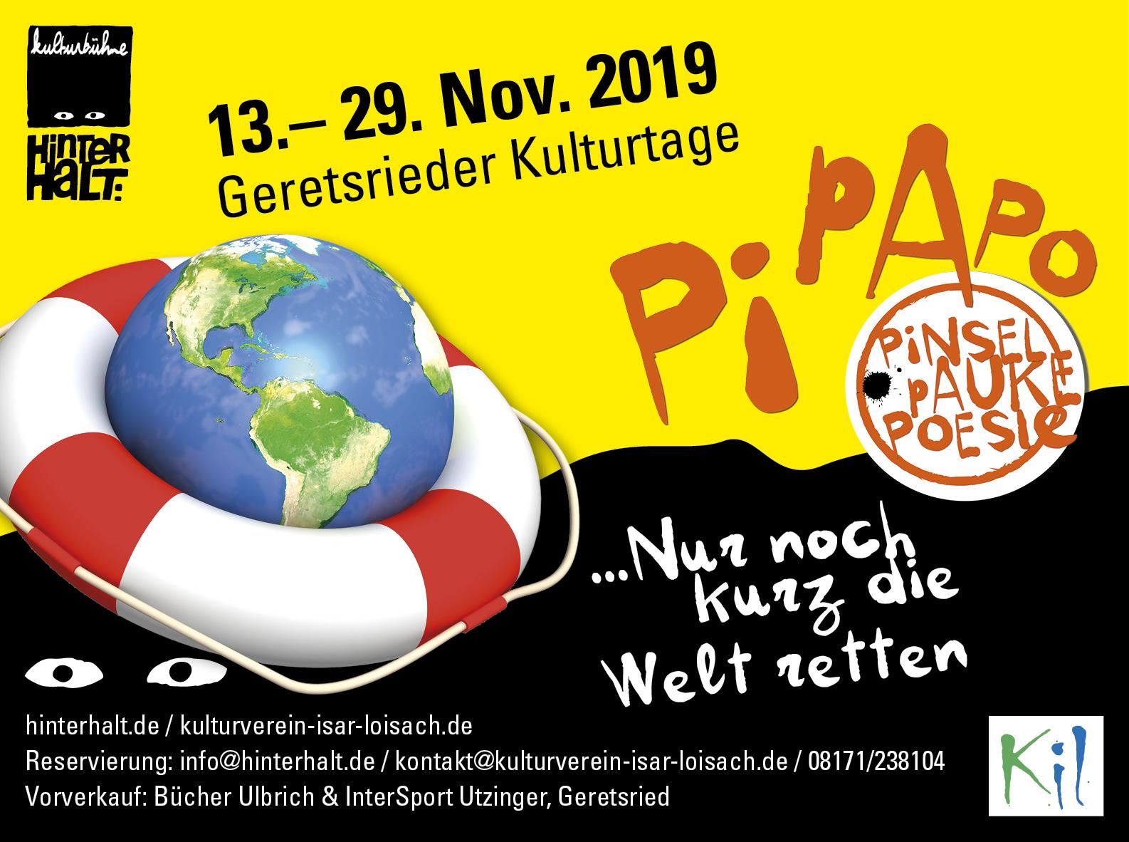"""Geretsrieder Kulturtage PiPaPo 2020 """"Nur noch kurz die Welt retten"""" – Hoffnung Zukunft"""